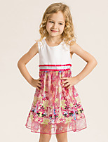 Girl's Casual/Daily Print Dress,Cotton / Polyester Summer White