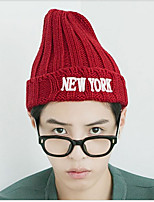 Unisex Letter Embroidered Wool Knitted  Korean Version Of Solid Color Pointy Hat