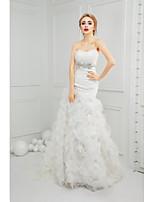 Trumpet/Mermaid Wedding Dress-Ivory Court Train Sweetheart Organza