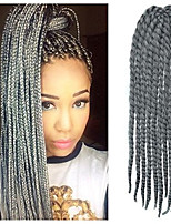12-24 Zoll häkeln Zopf havanna mambo afro Twist Haarverlängerung Silber mit Häkelarbeithaken grau