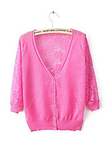 Women's Solid Pink / White / Beige / Black / Yellow Cardigan,Street chic ¾ Sleeve