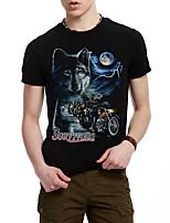 Print-Informeel / Werk / Formeel / Sport-Heren-Katoen-T-shirt-Korte mouw Zwart