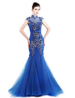 Formal Evening Dress Trumpet / Mermaid High Neck Sweep / Brush Train Tulle with Flower(s)
