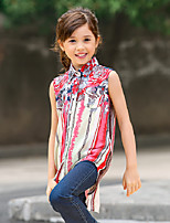 Girl's Multi-color Blouse,Striped Cotton / Polyester Summer