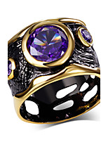 Party Free shipping Amethyst Round shape Cubic Zirconia 18K Gold & Black Plated Evening cocktail Rings for women