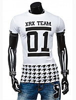 Men's Fashion Letter Print Patchwork Fake Two Short Sleeve T-Shirt, Cotton /Polyester