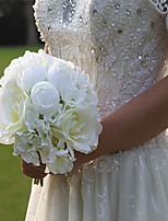 Bouquets de Noiva Redondo Peônias Buquês Casamento / Festa / noite Branco Cetim 10.24