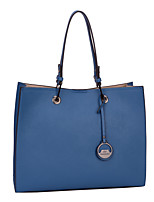DAVIDJONES/Women PU Shopper Shoulder Bag / Tote / Cross Body Bag-Blue