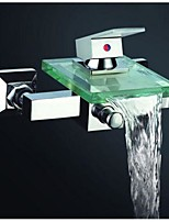 Contemporary Waterfall Bathtub Faucet with Glass Spout /Wall-Mounted Shower Faucet