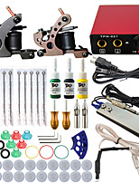 Professional Complete 2 Gun Tattoo Machine Kit 3PCS Ink Power Supply Needle Grips Tips