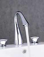 Widespread Three Holes Double Knobs Gooseneck Bathroom Faucet Chrome