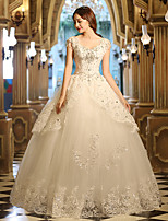 A-line Wedding Dress Floor-length V-neck Tulle with Pearl / Ruffle / Appliques / Beading / Crystal