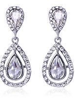 Luxury Drops Shape Cubic Zrconia Crystal Drop Earrings Jewelry for Lady(4.6*2)