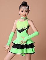 Vestidos(Azul / Fucsia / Verde,Espándex / Poliéster,Danza Latina) -Danza Latina- paraNiños