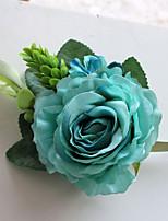 Ramos de Flores para Boda Forma Libre Peonías Ramillete de Muñeca Boda / Fiesta / noche Azul / Fucsia / Rosado / Verde / BeigePoliéster /