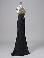 ts couture® vestido de noche formal de la trompeta / sirena cabestro palabra de longitud gasa / charmeuse con abalorios