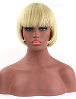 Fashionable Blonde Color Short Length Straight Cosplay Synthetic Wigs