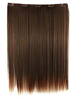 peruca 52 centímetros de alta temperatura comprimento do fio cabelo liso extensão de cabelo sintético marrom