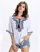 Women's Casual/Daily Street chic Summer T-shirt,Print Round Neck ½ Length Sleeve White Rayon Medium