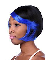 pelucas sintéticas del pelo recto natural sin tapa color mezclado longitud media de alta calidad