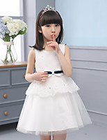 A-line Knee-length Flower Girl Dress-Cotton / Lace / Tulle Sleeveless