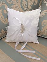 White Ring Pillow Satin Beach Theme / Vegas Theme / Classic Theme With Ribbons(22*18*17cm)
