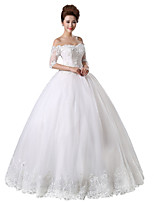 Princess Wedding Dress Floor-length Off-the-shoulder Lace / Tulle with Beading