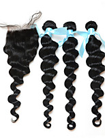 7A Peruvian Virgin Hair With Closure Loose Wave With Closure 3/4 Bundles With Closure  Human Hair With Closure