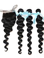 7a pelo virginal peruano con la onda floja de cierre con cierre de 3/4 haces con cabello humano de cierre con cierre