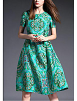 Women's Going out / Plus Size Simple A Line Dress,Print Round Neck Above Knee Short Sleeve Green Silk Summer