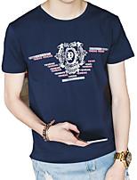 Masculino Camiseta Algodão / Elastano Estampado / Letra Manga Curta Casual / Escritório / Formal-Preto / Azul / Branco / Cinza
