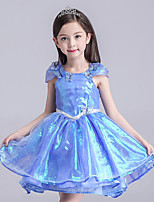 Girl's Casual/Daily Patchwork Dress,Polyester All Seasons Blue