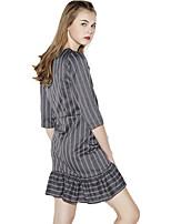 Haoduoyi® Women's Striped Ruffle Round Neck 3/4 Length Sleeve Above Knee Bodycon Dress (Gray)-15151F208
