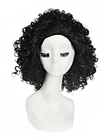 Women's Fashionable Black Color Middle Length Curly Synthetic Wigs