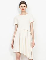 Europrimo® Women's Round Neck Short Sleeve Asymmetrical Midi Dress(white)-EUFCZ604