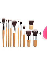 11pc Bamboo Handle and​ Nylon Hair Cosmetic Makeup Brush Set And Small Size Makeup Sponge