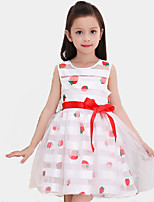 Girl's Casual/Daily Print Dress,Cotton / Polyester All Seasons Red