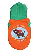Gatos / Cães Casacos / Camisola com Capuz Verde / Laranja Primavera/Outono Floral / Botânico Da Moda-Pething®, Dog Clothes / Dog Clothing