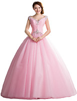 Formal Evening Dress Ball Gown V-neck Floor-length Tulle with Crystal Detailing