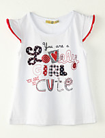 Girl's Going out Print Tee,Polyester Summer White