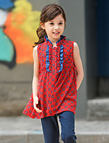 Girl's Red Shirt,Print Polyester Summer