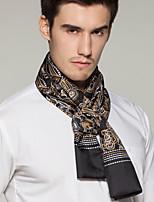 Men Black White-collar Occupation Printing Work  Silk Scarf