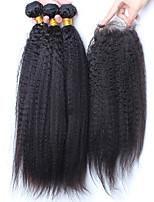 extensão do cabelo humano cabelo virgem malaio com cabelo humano em linha reta Kinky fechamento pacotes com fecho