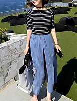 Women's Striped Blue / Black Pullover,Street chic Short Sleeve