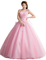 Formal Evening Dress Ball Gown One Shoulder Floor-length Tulle with Bow(s) / Crystal Detailing