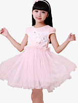 Girl's Casual/Daily Patchwork Dress,Cotton / Polyester Summer / Spring Blue / Pink / White