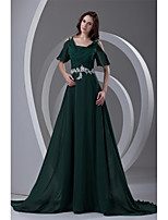 Formal Evening Dress A-line Straps Court Train Chiffon with Appliques / Beading / Pleats