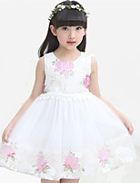 Girl's Casual/Daily Floral Dress,Cotton / Polyester All Seasons Pink / Purple / White