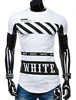 Print / Letter -Informeel / Werk / Formeel / Sport-Heren-Katoen-T-shirt-Korte mouw Zwart / Wit