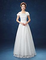 웨딩 드레스-A-라인 바닥 길이 오프 더 숄더 레이스 / 새틴
